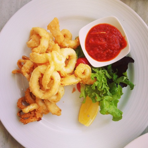 Colour Burst Calamari with Salsa and Greens