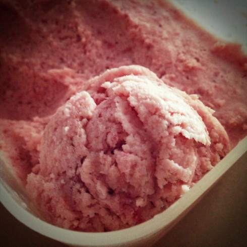 Upclose with Strawberry Ice Cream
